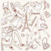 Link toHandwriting love with paris elements vector 01