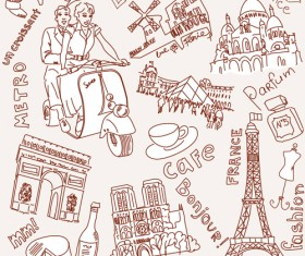 Handwriting love with Paris elements vector 02
