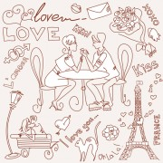 Link toHandwriting love with paris elements vector 03