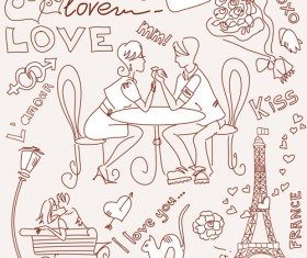 Handwriting love with Paris elements vector 03