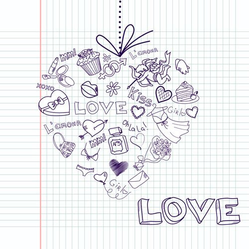Handwriting love with Paris elements vector 04