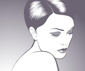 Stylish Woman Hairstyle elements vector 01