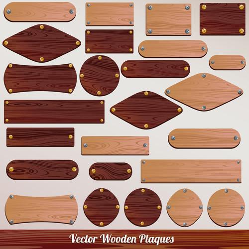 Set of Wooden plaques labels vector 01