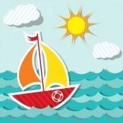 Link toPaper cut of cartoon maritime transport elements vector 03