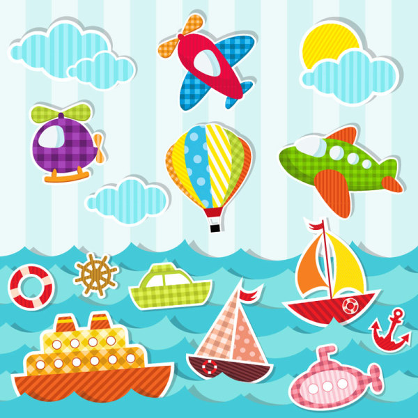 Paper Cut Of Cartoon Maritime Transport Elements Vector 05
