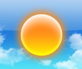 Sun with Cloud psd material