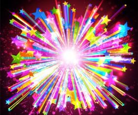 Fireworks Rainbow design vector 02