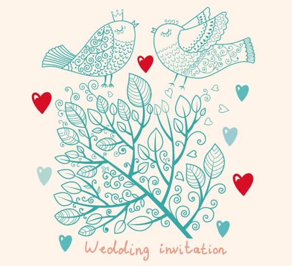Romantic Wedding Invitation Card Vector 01 Free Download