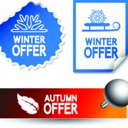 Link toSet of autumn and winter offer stickers design vector 02
