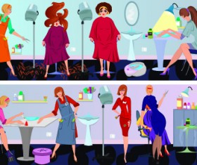 Beauty salon workers design vector 01