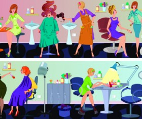 Beauty salon workers design vector 03