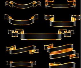 Black and gold ribbon vector