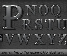 Black transparent alphabet vector 02