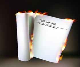 Burning paper roll vector background 01