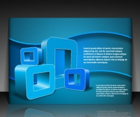 Modern Business letterhead and brochure cover vector 03