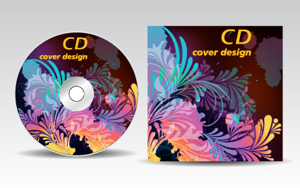 floral of cd cover design elements 01 free download