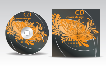 floral of cd cover design elements 04 free download