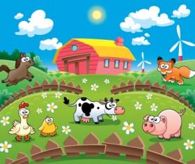 Cartoon animals and Cartoon farm vector