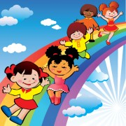 Link toChildren with rainbow design vector 03