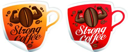Vector Coffee break stickers elements 05