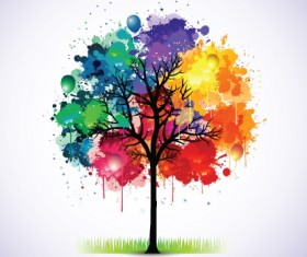 Creative Colorful tree design elements vector 01