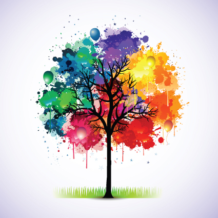 creative colorful tree design elements vector 01 free download