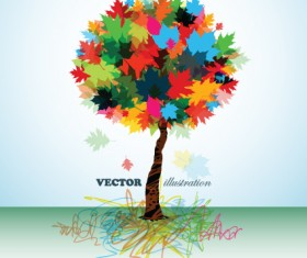 Creative Colorful tree design elements vector 02
