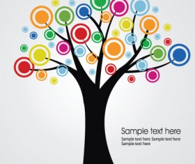 Creative Colorful tree design elements vector 03