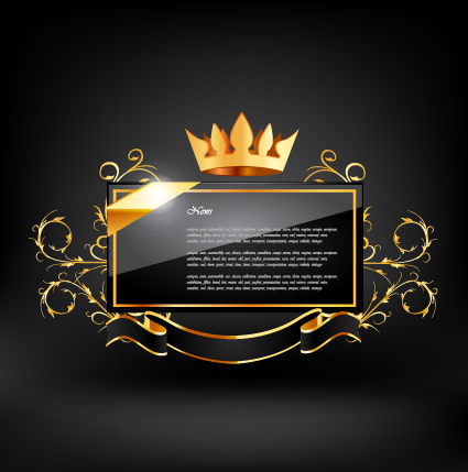 Crown with glass label vector 02