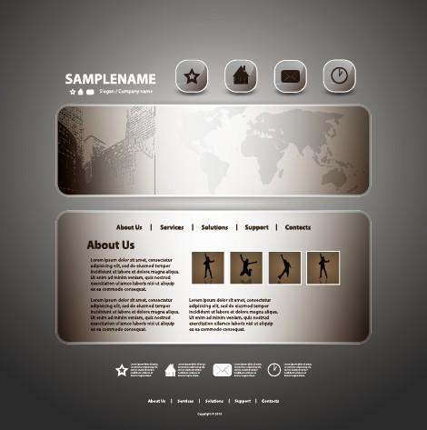 Dark style website template vector