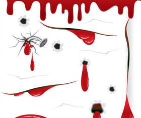 Vector Drops of blood design elements 01