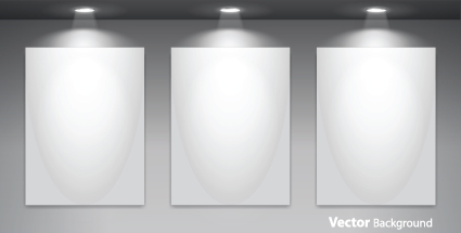Set of Empty gallery wall with lights background 02