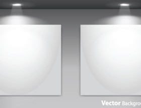 Set of Empty gallery wall with lights background 03