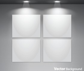 Set of Empty gallery wall with lights background 04