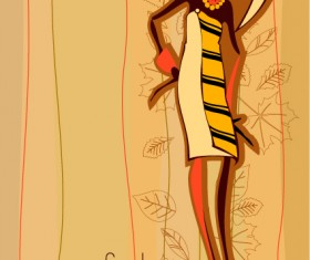 Hand drawn autumn Fashion girl design vector 02