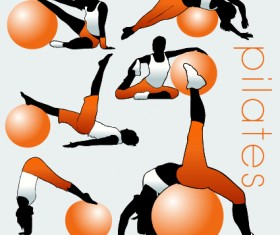Fitness exercises design elements set 03