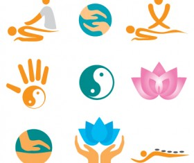 Vector Fitness with meditation logo set 01