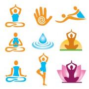 Link toVector fitness with meditation logo set 02