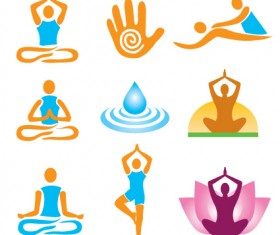 Vector Fitness with meditation logo set 02