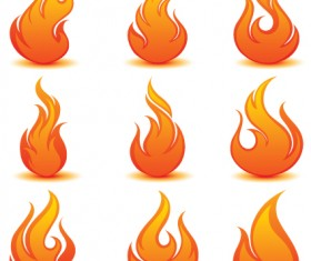 Different Flames icons design vector 04