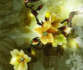 Fresh Flowers design vector art 04