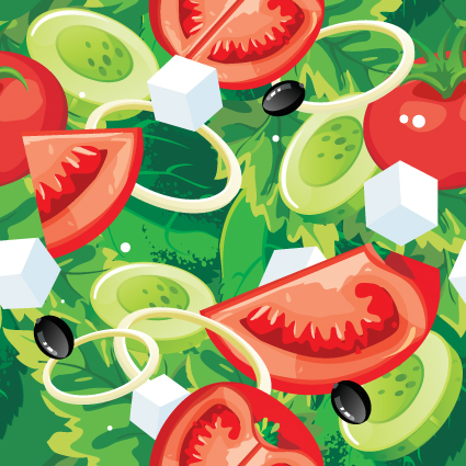 Fruits and vegetables patterns vector graphics 01