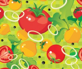 Fruits and vegetables patterns vector graphics 02