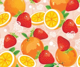 Fruits and vegetables patterns vector graphics 04