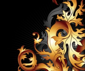 Gold floral vector backgrounds art 01