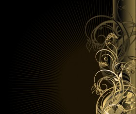 Gold floral vector backgrounds art 02
