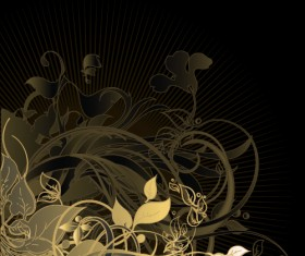 Gold floral vector backgrounds art 03