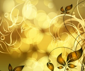 Gold floral vector backgrounds art 04