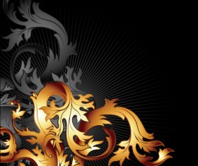 Gold floral vector backgrounds art 05