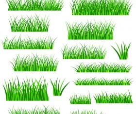 Vector Green Grass Elements set 09